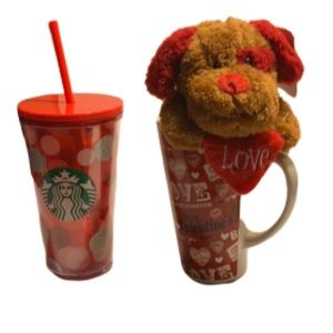 Two cups for Valentines Day, Starbucks & Teddy cup